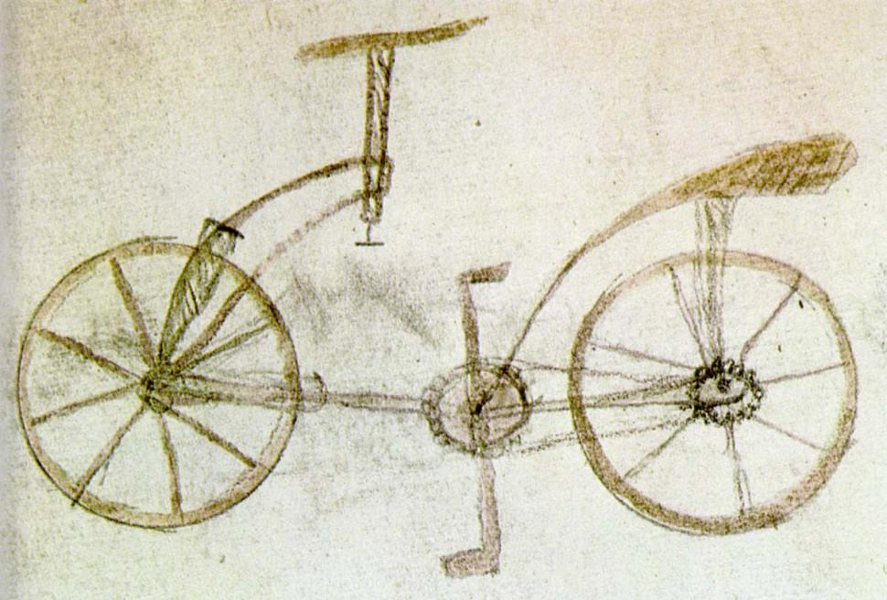 The bicycle sketch allegedly drawn by a student of Leonardo Da Vinci (Wikimedia Commons).jpg