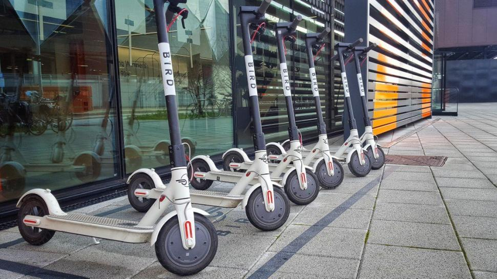 Bird e-scooters at Queen Elizabeth Olympic Park (copyright Simon MacMichael).JPEG
