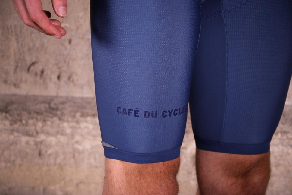Cafe du Cycliste Adele Cobalt Blue Thermal Bib Shorts - cuff.jpg