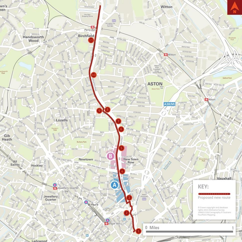 City Centre to Perry Bar cycle superhighway route (Birmingham Cycle Revolution).jpg