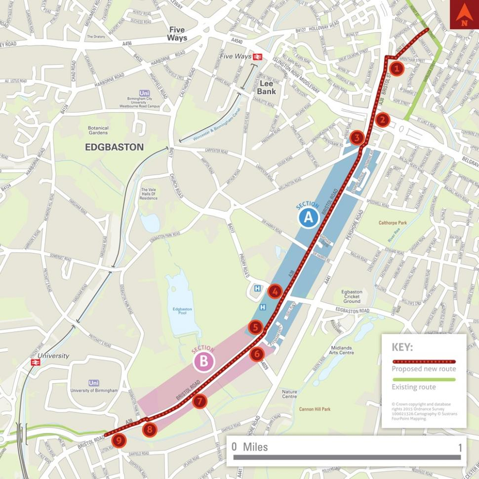 City Centre to Selly Oak cycle superhighway route (Birmingham Cycle Revolution).jpg
