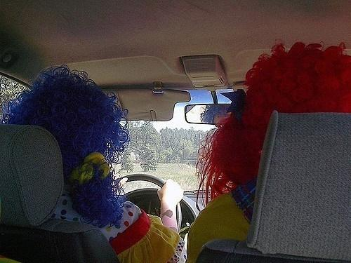 Clowns driving (CC licensed by oddharmonic via Flickr).jpg