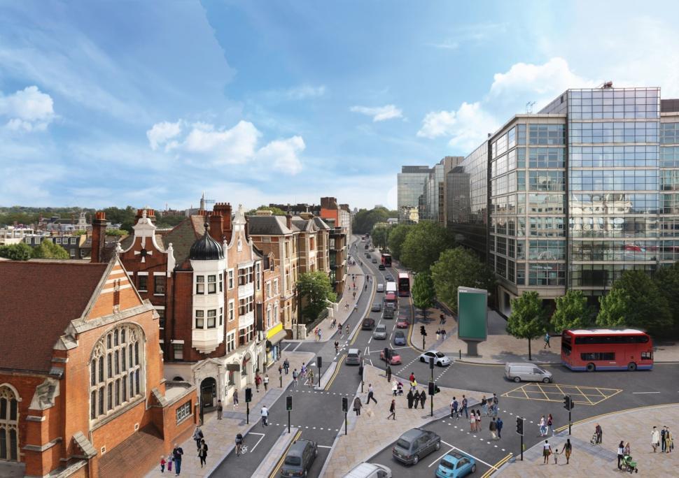 Cycle Superhighway 9 at Hammersmith CGI impression (source TfL).jpg