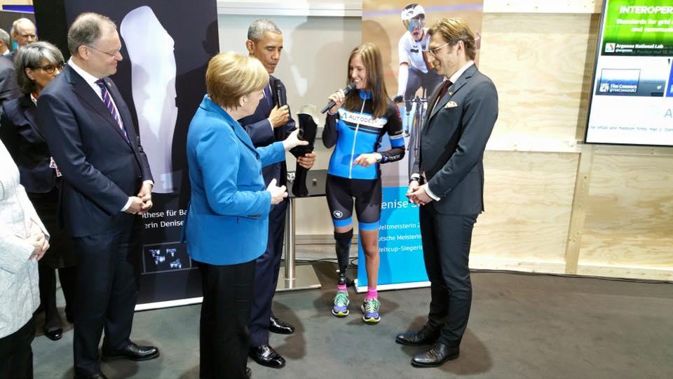 Denise Schindler with Angela Merkel and Barack Obama (source Facebook).jpg