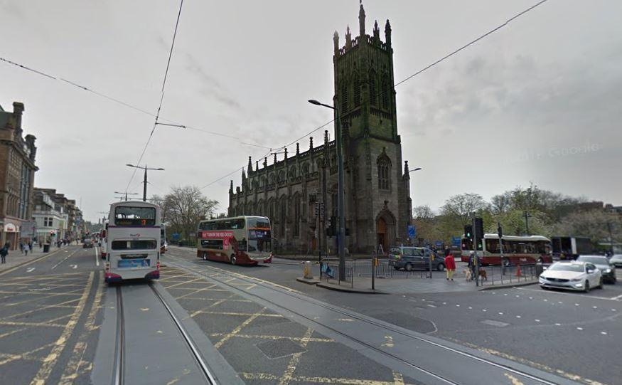 Edinburgh, junction of Princes Street and Lothian Road (GoogleStreetView).JPG
