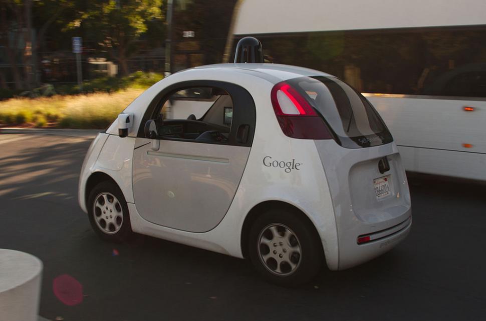 Google self driving car (CC licensed by Michael Shick via Wikimedia).jpg
