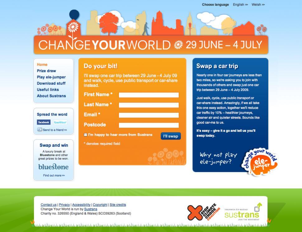 Change Your World homepage
