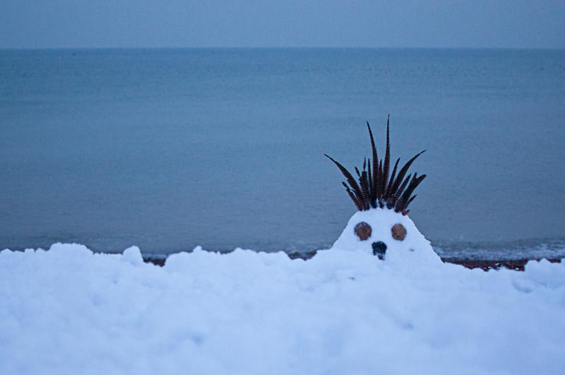 Brighton beach snow creature (photo: Martin Thomas)