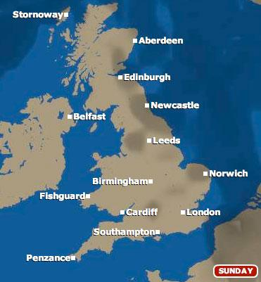 Sunday 20 June weather map (pic: BBC)