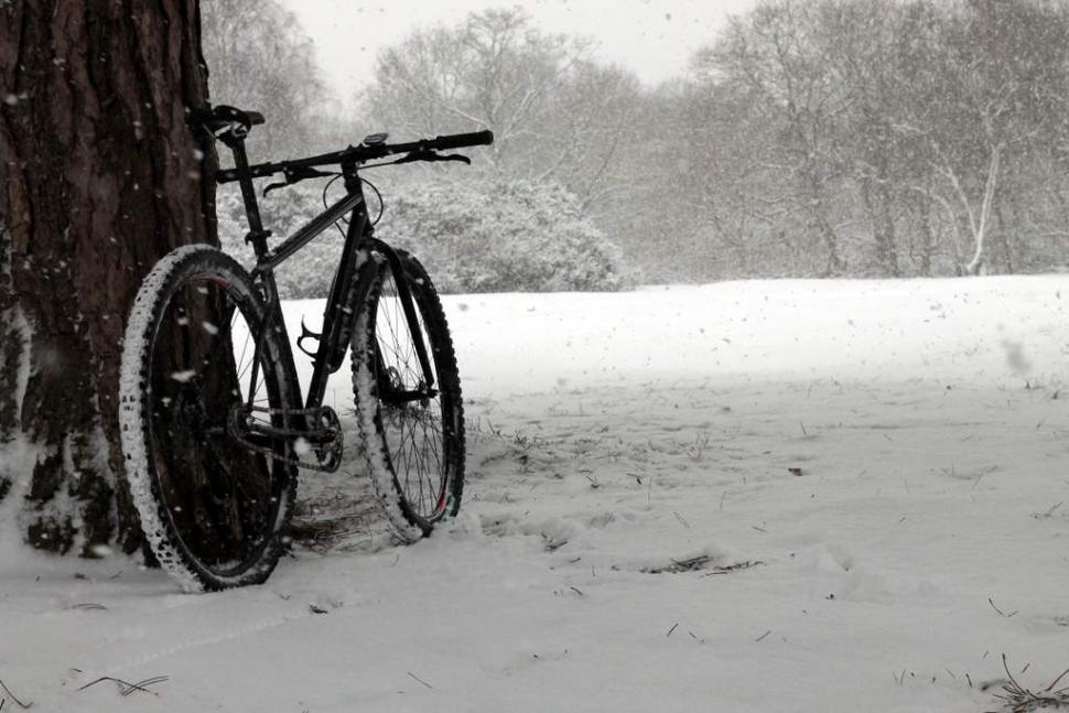 Snow mountain bike ride