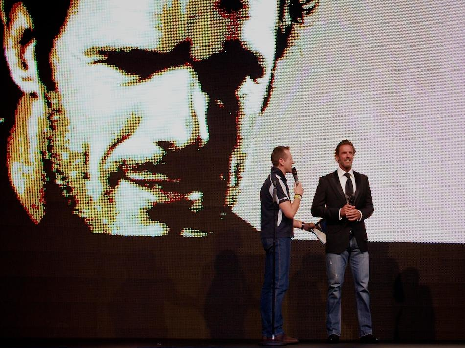 Mario Cipollini opens the 2010 Cycle Show (copyright Simon MacMichael)