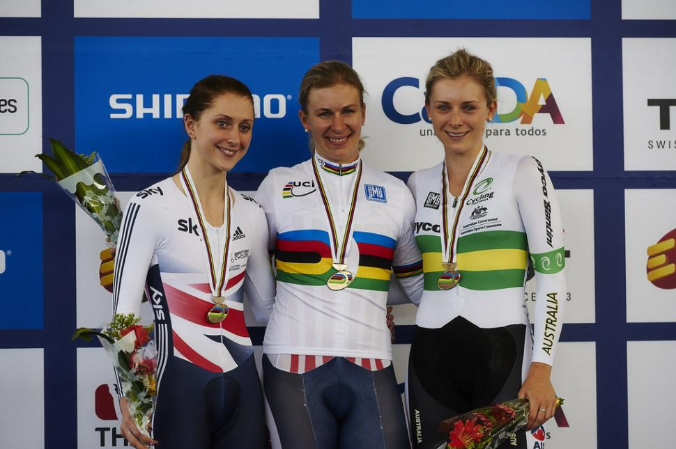 2014 Track world championships women's Omnium podium (copyright Britishcycling.org.uk)