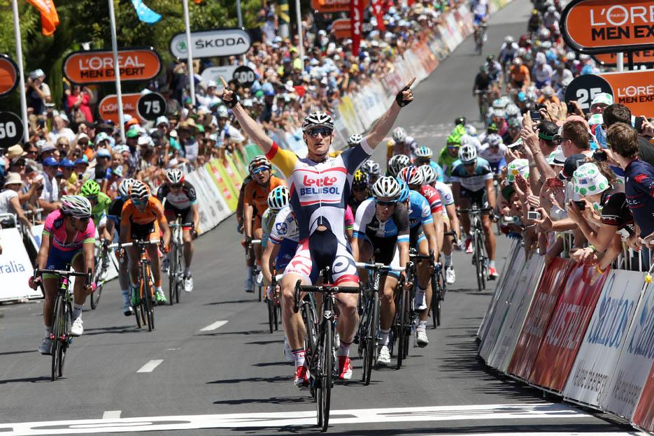 Andre Greipel wins stage 1 of the 2013 Santos Tour Down Under (copyright Santos Tour Down Under, Regallo)