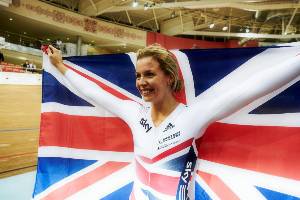Becky James with union flag, Minsk 2013 (copyright Britishcycling.org.uk)