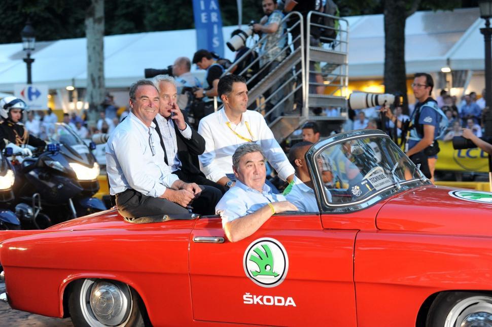 Bernard Hinault with Greg LeMond, Miguel Indurain and Eddy Merckx (copyright Simon Wilkinson:SWpix.com)