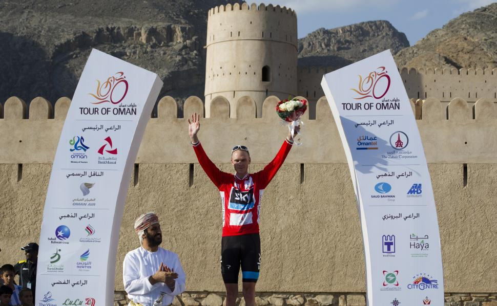 Chris Froome after taking lead in 2013 Tour of Oman (copyright Lloyd Images, Muscat Municipality)