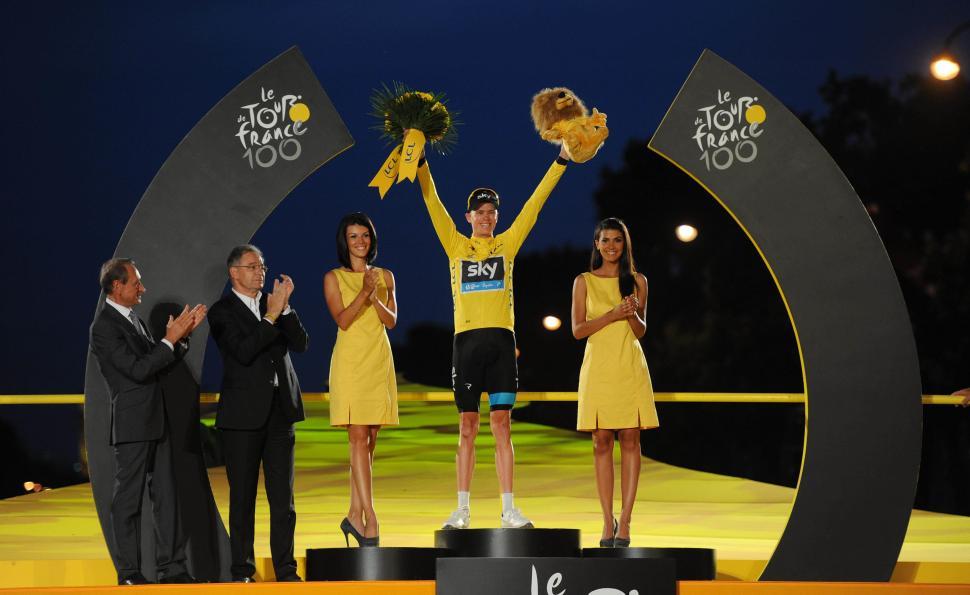 Chris Froome celebrates winning the 2013 Tour de France (picture copyright Simon Wilkinson:SWpix.com)