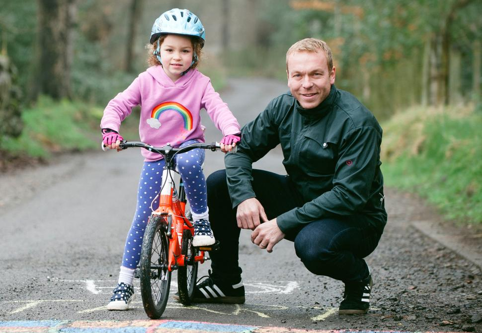 Chris Hoy (right) at the launch of his range of kids' bikes in 2014 (image courtesy Evans Cycles)