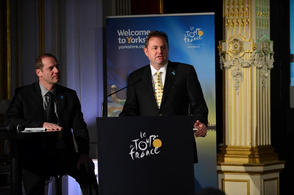 Christian Prudhomme and Gary Verity at presentation of 2014 TDF Grand Depart (picture by Dave Winter:SWPix.com)