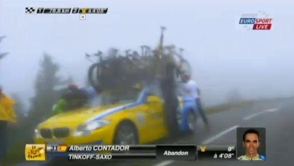 Contador abandons