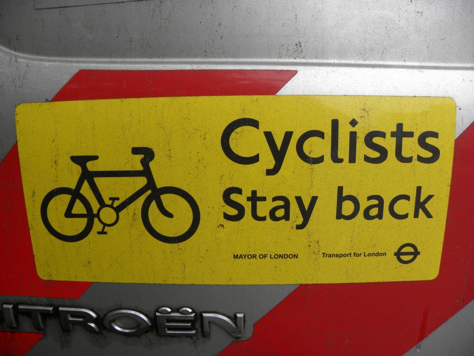Cyclists stay back sticker (CC licensed image by happy days photos and art:Flickr)