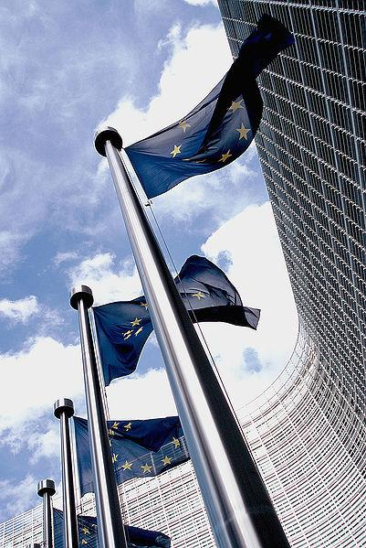 European Flags outside Commission building (picture Xavier Häpe, Wikimedia Commons)