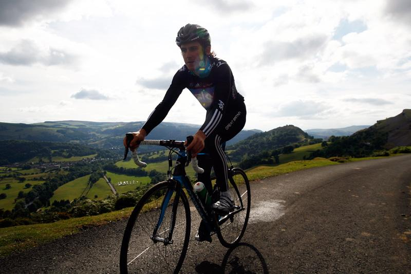 Geraint Thomas rides part of the Etape Cymru course.jpg