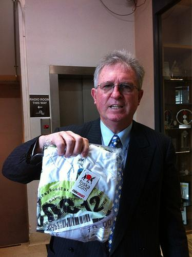 John Griffin with I Pay Road Tax jersey (picture courtesy Carlton Reid)