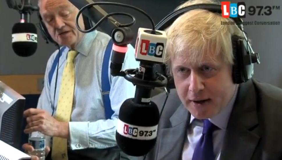 Ken Livingstone and Boris Johnson LBC debate YouTube still