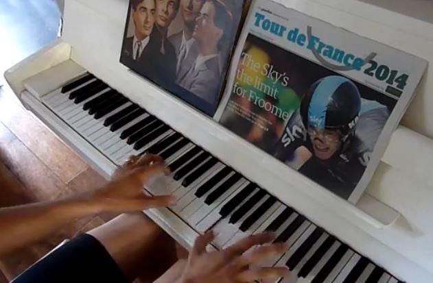 Kraftwerk Tour de France Cockney piano style YouTube still