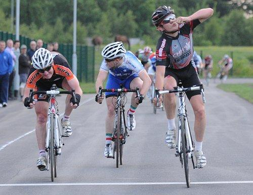 Lewis Balyckyi winning at the Tameside circuit in 2010 (courtesy British Cycling).jpg