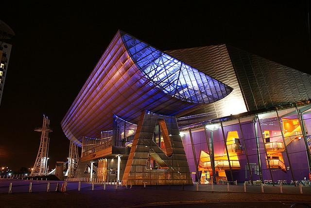 Lowry Theatre at night (source John, Wikimedia Commons)