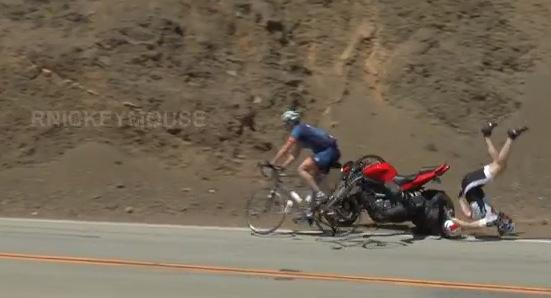 Mulholland Highway motorbike and cyclist collision (source Rnickeymouse, YouTube)