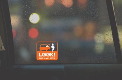 NYC Look For Cyclists taxi window decal