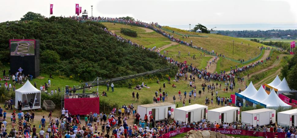 Olympic mountain bike races at Hadleigh Farm (licence CC BY-NC-ND 2.0 by Peter Dean:Flickr)