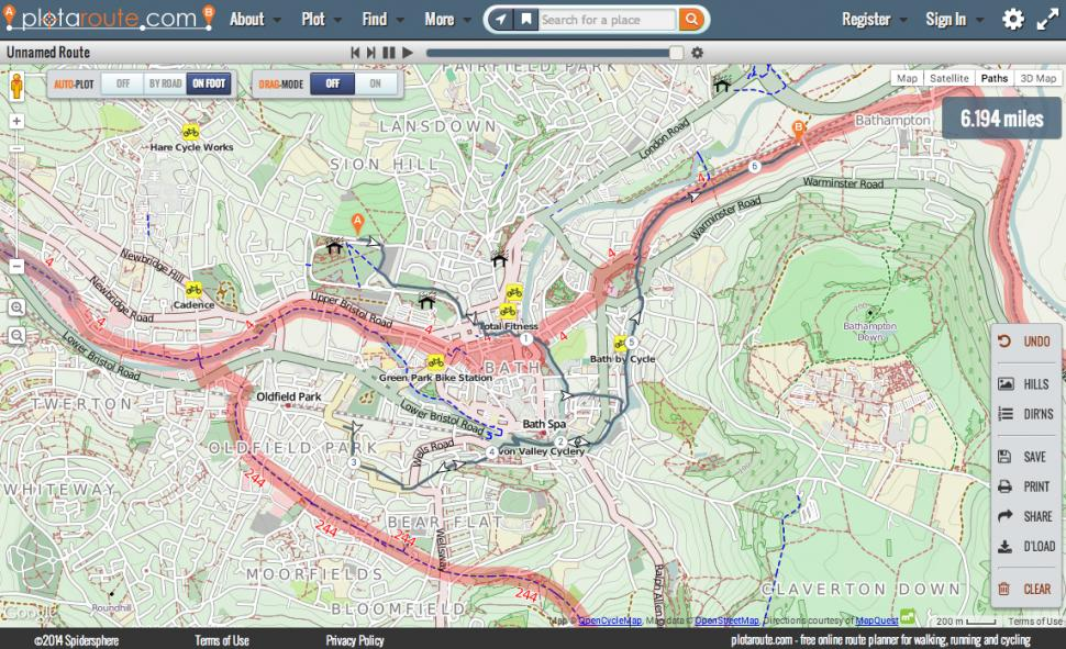 A plotted route on plotaroute.com