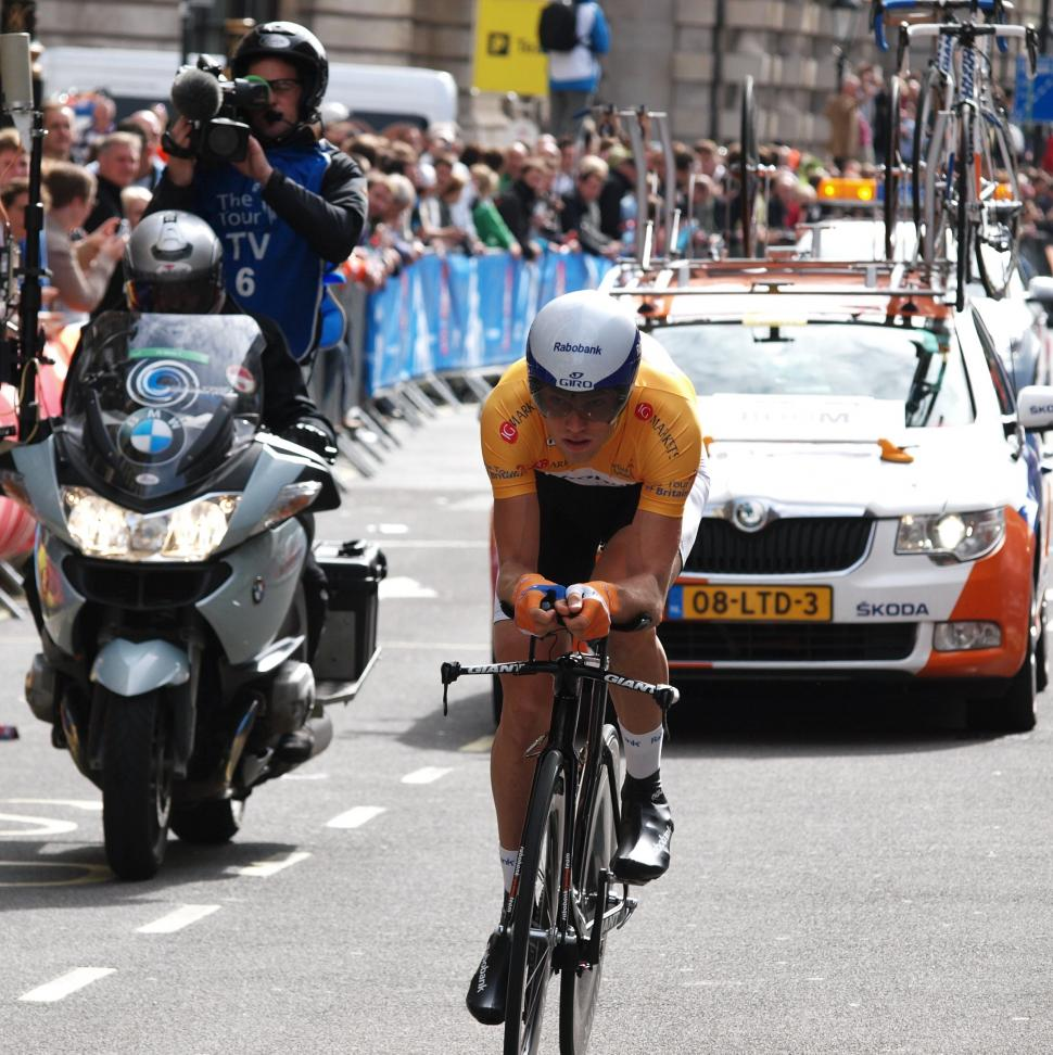TV moto follows Lars Boom in 2011 Tour of Britain (copyright Simon MacMichael)