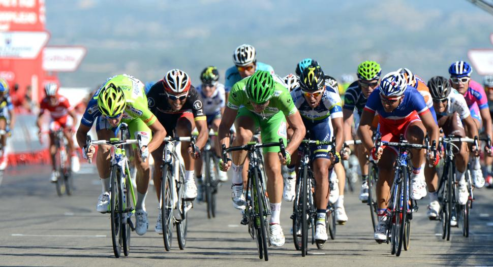 Vuelta 2012 S7 sprint, Degenkolb (centre) heads for win (copyright Unipublic:Graham Watson)