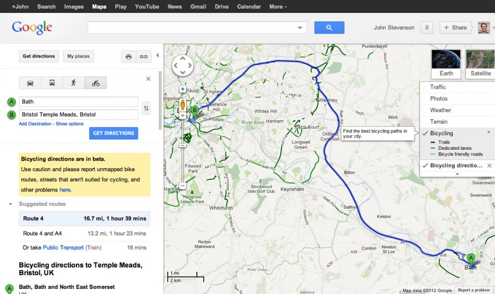 Google maps adds uk bike navigation with sustrans routes road google mapsg gumiabroncs Choice Image