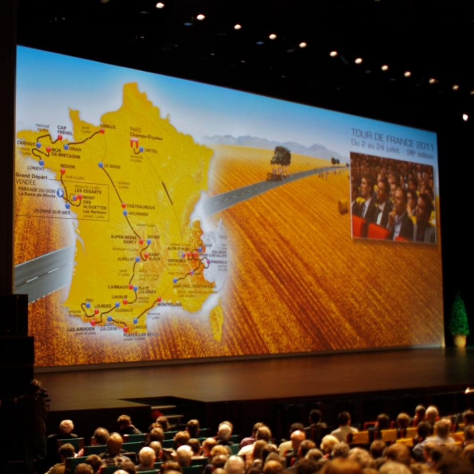 Riders watch as the 2011 Tour de France route is unveiled © Simon MacMichael