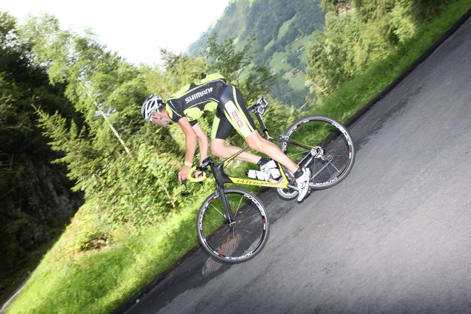 Ultegra Di2 test ride Harald on the hairpin.jpg