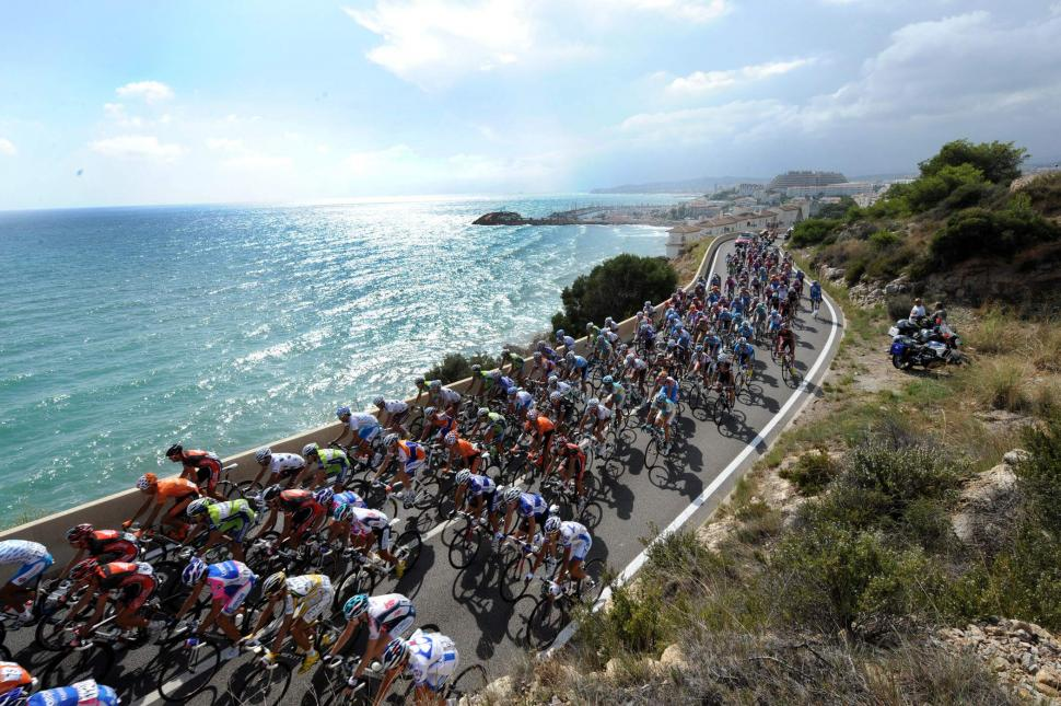 The riders skirt the Catalan coast in the 2010 Vuelta (copyright- Unipublic:Graham Watson)