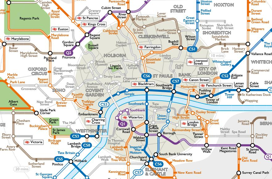 Londons cycle network given the Tube map treatment roadcc