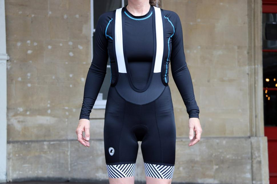 Lusso Ladies Bib Shorts Stripes - front full.jpg