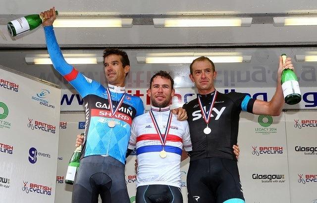 National champion Mark Cavendish on the podium with David Millar and Ian Stannard, Glasgow 2013 (copyright Britishcycling.org_.uk).jpg
