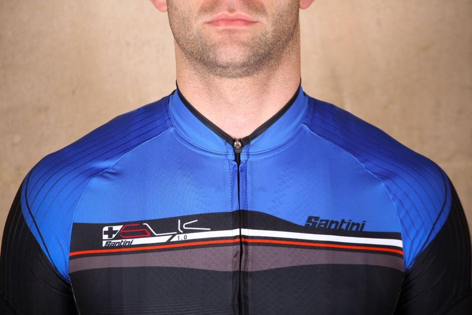 Santini Sleek Plus Short Sleeve Jersey Turquoise Blue - collar.jpg