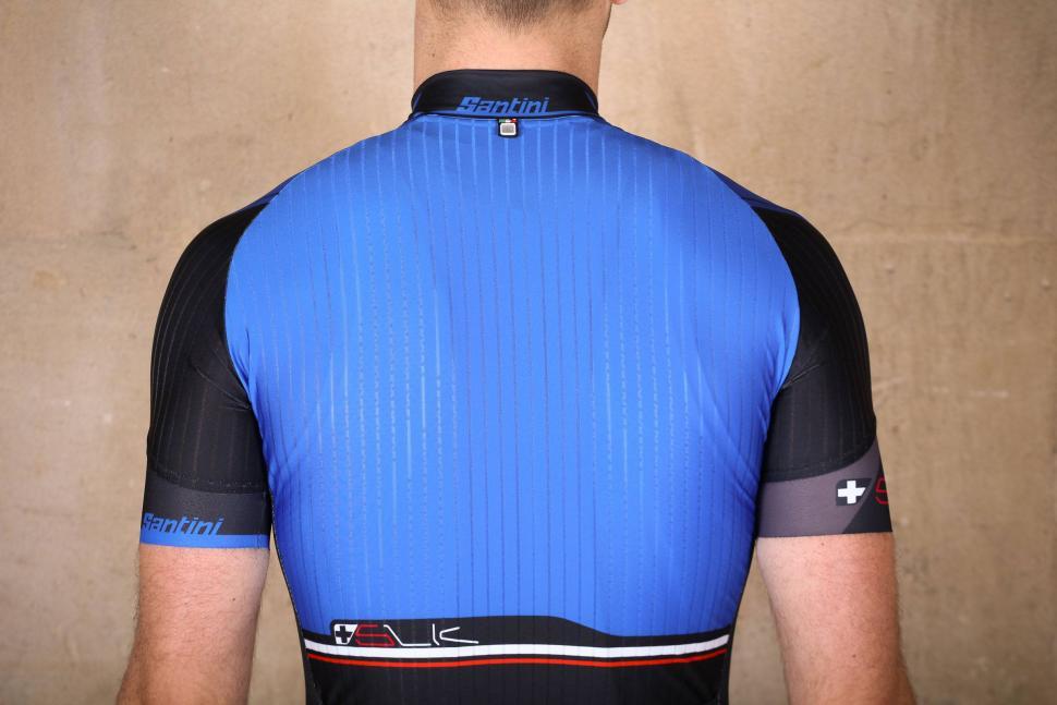 Santini Sleek Plus Short Sleeve Jersey Turquoise Blue - shoulders.jpg