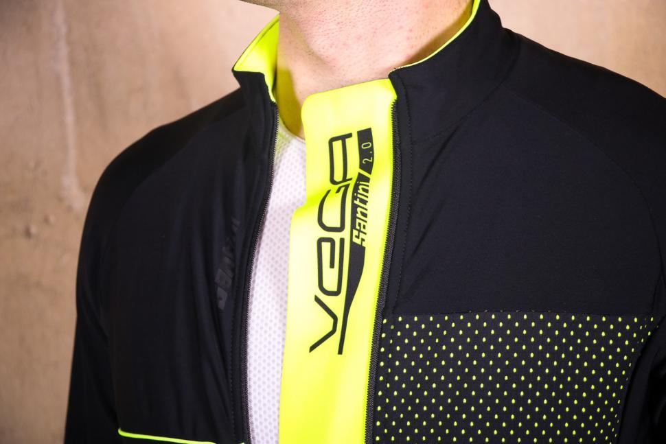 Santini Vega 2.0 Aquazero Long Sleeve Thermofleece Jersey - placket.jpg