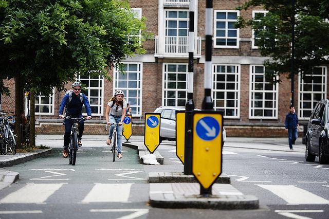 Segregated cycle lane in London (copyright Britishcycling.org_uk).jpg