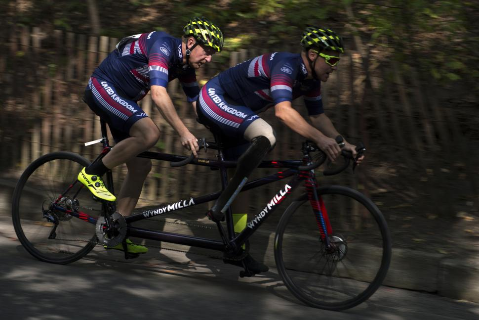 Visually impaired cyclist Jamie Weller of Team GB races a tandem with the help of a guide at the 2017 Invictus Games (CC BY 2.0 DoD photo by EJ Hersom|Flickr).jpg